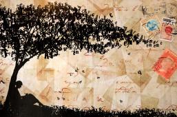 árbol de letras / fondo de hojas